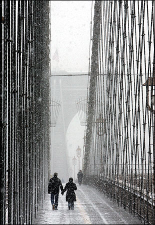 snowy brooklyn bridge